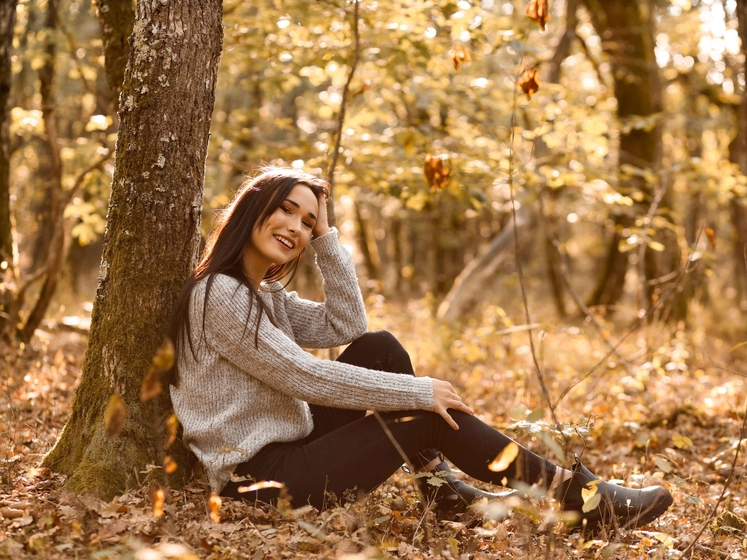 photo portrait femme dans les bois